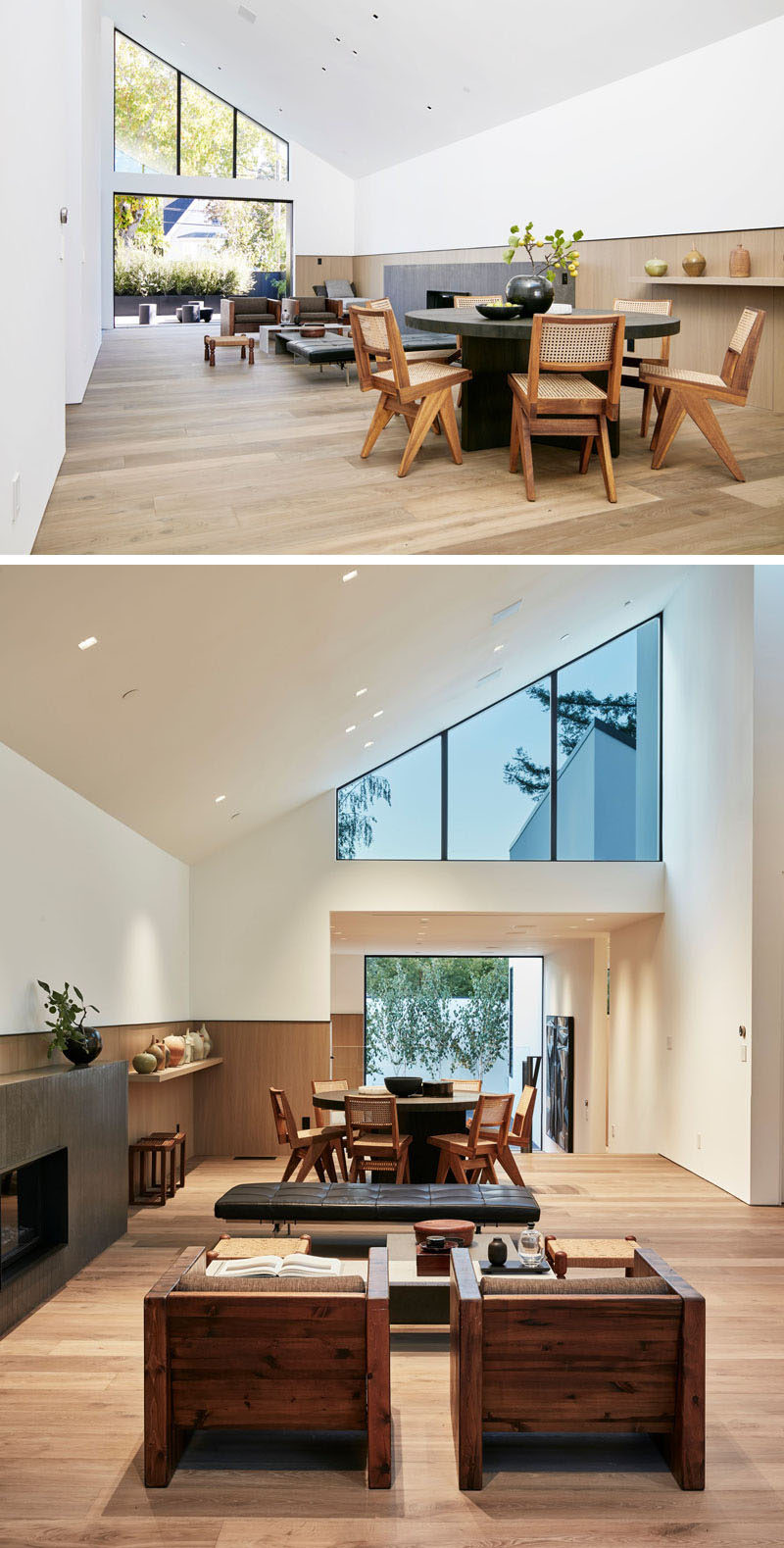Inside this modern house, the interior is bright and lofty, with white walls, an open floor plan, and a wood accent that lines the length of the room. #ModernLivingRoom #ModernInterior