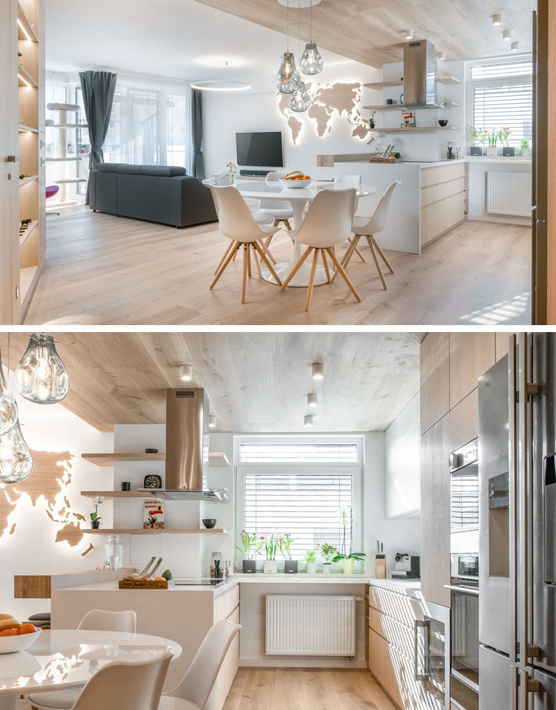 Kitchen Ideas - This small kitchen has been designed as a U-shape, with the cooking area on the left, and the cleanup area on the right. A small section of countertop below the window connects the two areas. #KitchenDesign #ModernKitchen #KitchenIdeas