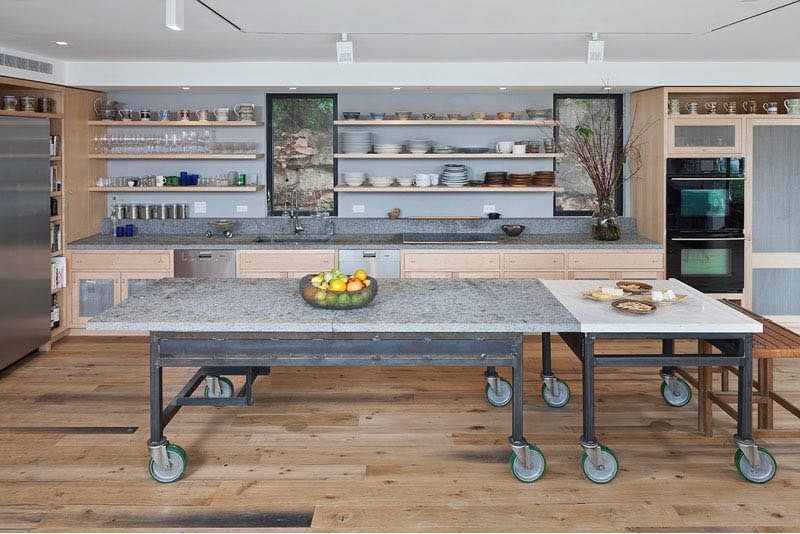 If you have plenty of space in your kitchen, but you also want flexibility to change the arrangement when needed, you can have two or more portable kitchen islands that can easily be separated or placed together. #PortableKitchenIsland #MovableKitchenIsland #KitchenIslandOnWheels #KitchenDesign