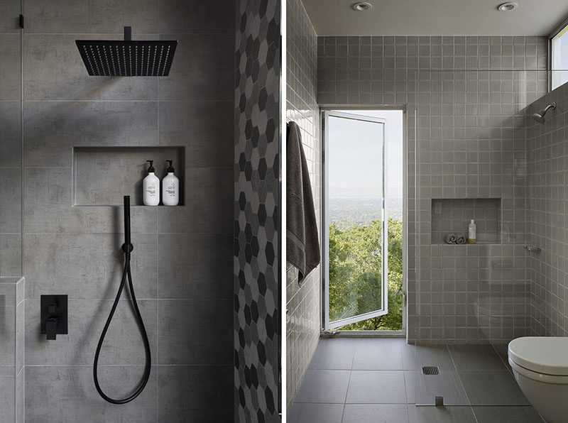 Shower Niche Ideas - If you want your shower niche to have a seamless finish, consider using the exact same tile that you have on the walls that surround it. This way the shower niche with blend in, and not draw attention away from other focal points, like the hexagonal tile accent wall or the vertical window in the bathroom photos below. #ShowerNiche #ShowerShelf #ShowerAlcove #ShowerNicheIdeas