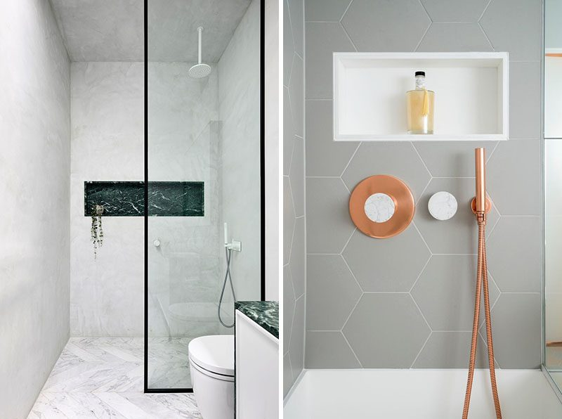 Contrasting Shower Niches - A shower niche that's lined with a contrasting material or color draws attention to the shower. To create a contrasting look, choose the opposite color. For example, if you have a lighter shower, line your shower niche with a darker materials, alternatively, if you have darker shower, use lighter materials. #ShowerNiche #ShowerShelf #ShowerAlcove #ShowerNicheIdeas