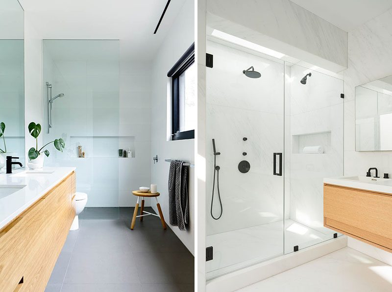 Shower Niche Ideas - A horizontal shower niche is one that's longer than it is higher. This is ideal if you have larger shower and want to take advantage of the wall space. #ShowerNiche #ShowerShelf #ShowerAlcove #ShowerNicheIdeas