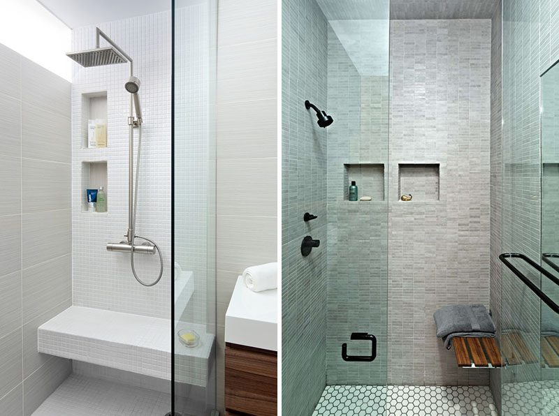 Multiple Shower Niches - Why have just one, when you can have two. Having multiple shower niches allows for more storage, and if you share a bathroom, each person can have their own shelf. Multiple shower niches positioned vertically can also solve the problem of having shelves at different heights for taller and short family members. #ShowerNiche #ShowerShelf #ShowerAlcove #ShowerNicheIdeas