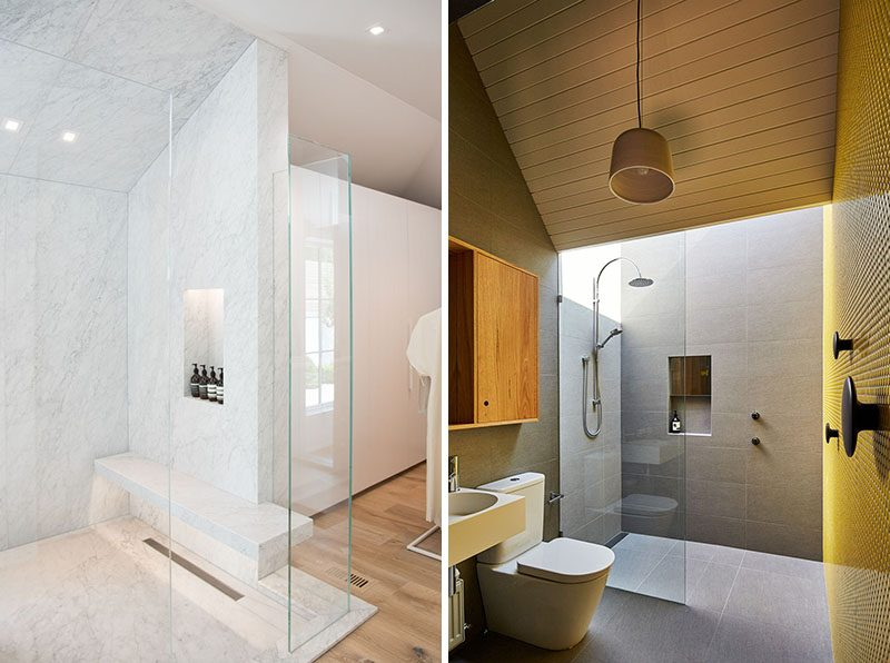 Shower Niche Ideas - A vertical shower niche makes use of the height of the shower. Taller than it is wide, a vertical shower niche is often the go-to choice when there's a smaller shower stall. #ShowerNiche #ShowerShelf #ShowerAlcove #ShowerNicheIdeas