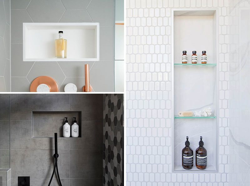 Shower Niche Ideas - A shower niche replaces the need for any caddy hanging from the shower head, a corner shelf that's hard to clean, or bottles left on the shower floor. A niche allows you to keep your shower looking clean and organized, and provide a more spa-like experience. #ShowerNiche #ShowerShelf #ShowerAlcove #ShowerNicheIdeas
