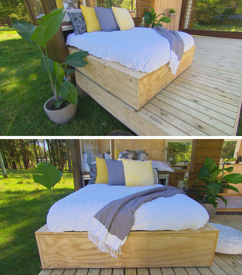 Tiny House Ideas - This modern tiny house has a deck with a daybed that slides out from within the frame. #TinHouseIdeas #TinyHouseDeck #TinyHouseDesign #Daybed