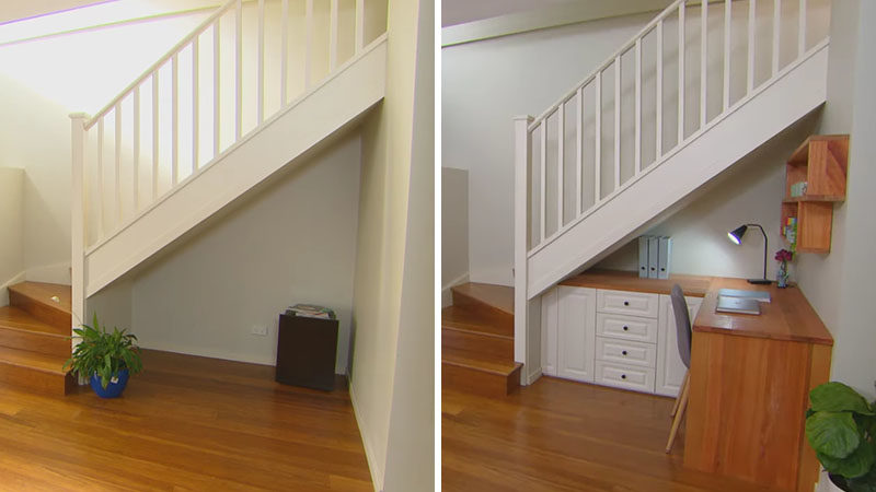 Storage Ideas - Using flat-pack kitchen cabinets in different sizes, a butcher block countertop, and floating wood shelves, this empty space under the stairs was transformed into storage area and small home office. #StorageIdeas #UnderStairStorage #HomeOffice #HomeworkStation #StairStorage #InteriorDesign