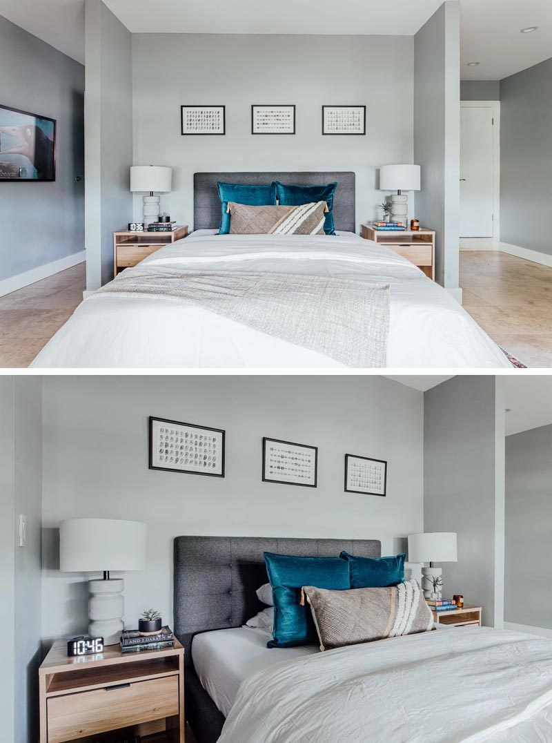 This contemporary guest room has calming grey walls, which are adorned with simple artwork. The alcove is home to a single larger bed with two bedside tables. #GuestRoom #GuestBedroom #InteriorDesign
