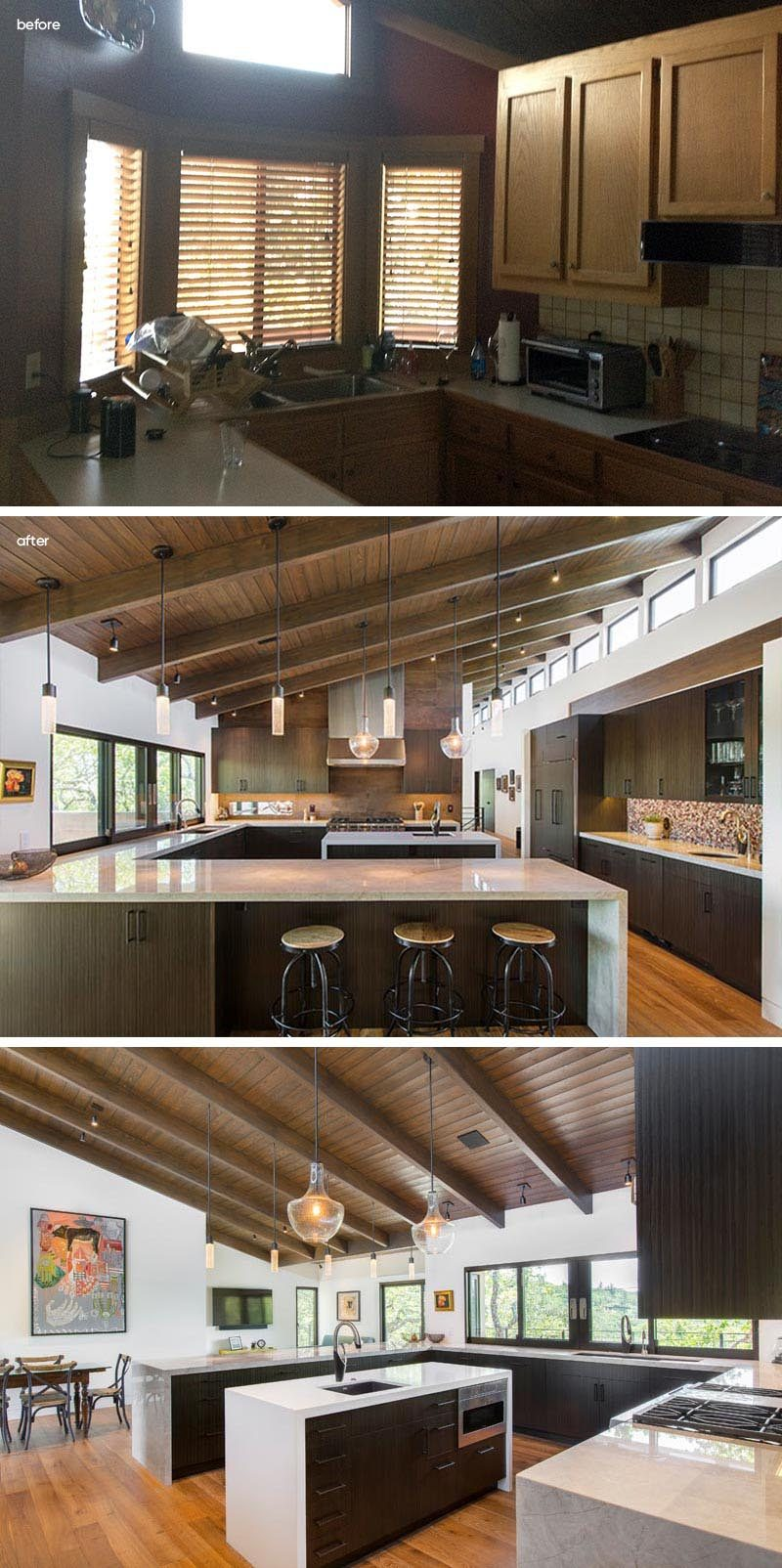 Before & After - Prior to the renovation, the kitchen was small and dark. The new kitchen is expansive and bright with rows of windows, plenty of cabinets, and a central island. #KitchenRenovation #KitchenDesign #ModernKitchen
