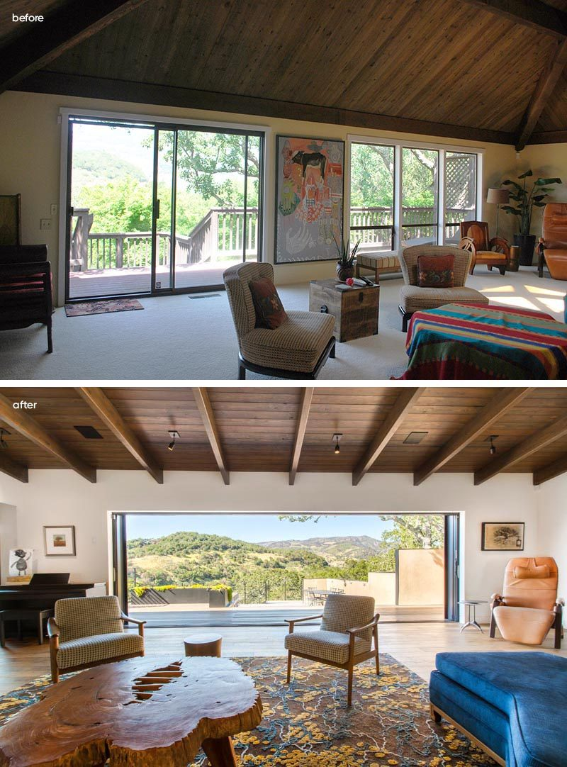 Before & After - In the living room, separate windows and doors have been replaced with a single large opening with glass doors that open to the deck. #LivingRoom #Doors #Renovation