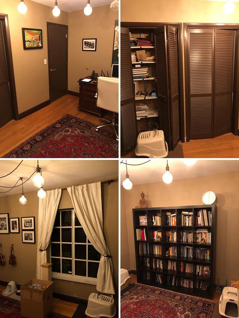 Before Photos - A dark home office has been transformed into a blue and white boy's bedroom with a custom bookshelf and desk. #BedroomRenovation #BedroomMakeover #BoysBedroom #ModernBedroom #BedroomDesign