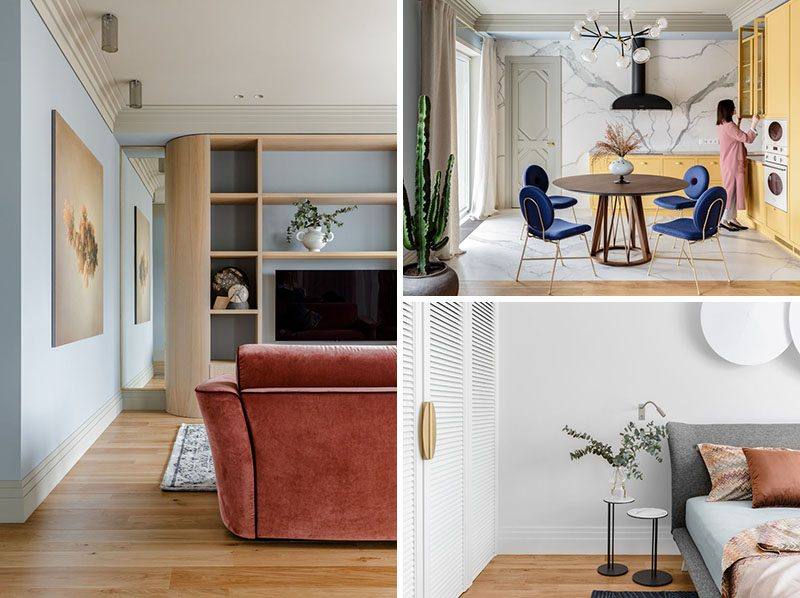 Atelier Prototipi has designed a modern apartment in Minsk, Belarus, for their clients that wanted a space that would remind them of a sunny and warm climate. #ModernApartment #ApartmentDesign #ApartmentInterior