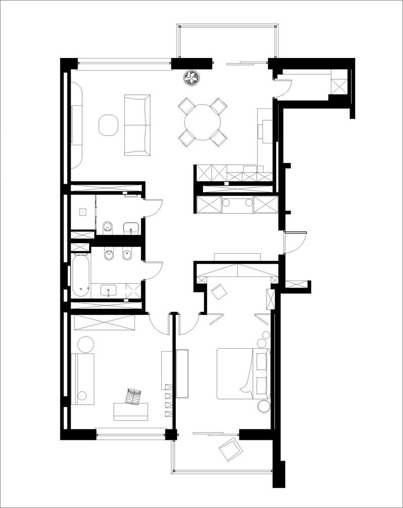 FLOOR PLAN - Atelier Prototipi has designed a modern apartment in Minsk, Belarus, for their clients that wanted a space that would remind them of a sunny and warm climate. #ApartmentLayout #ApartmentFloorPlan #ApartmentDesign