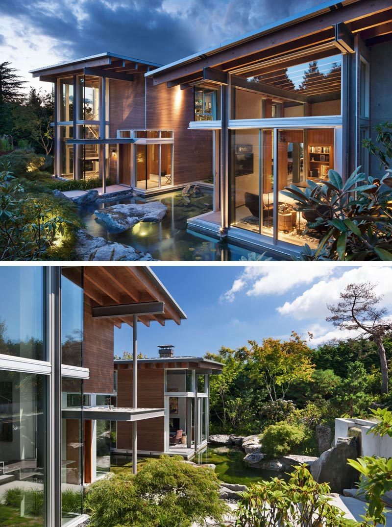 This northwest contemporary house has large windows, post and beam construction, and a garden with a water feature. #ModernHouse #HouseDesign #Architecture