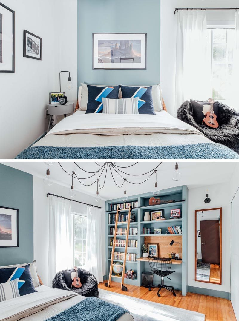Before & After - A dark home office has been transformed into a blue and white boy's bedroom with a custom bookshelf and desk. #BedroomRenovation #BedroomMakeover #BoysBedroom #ModernBedroom #BedroomDesign