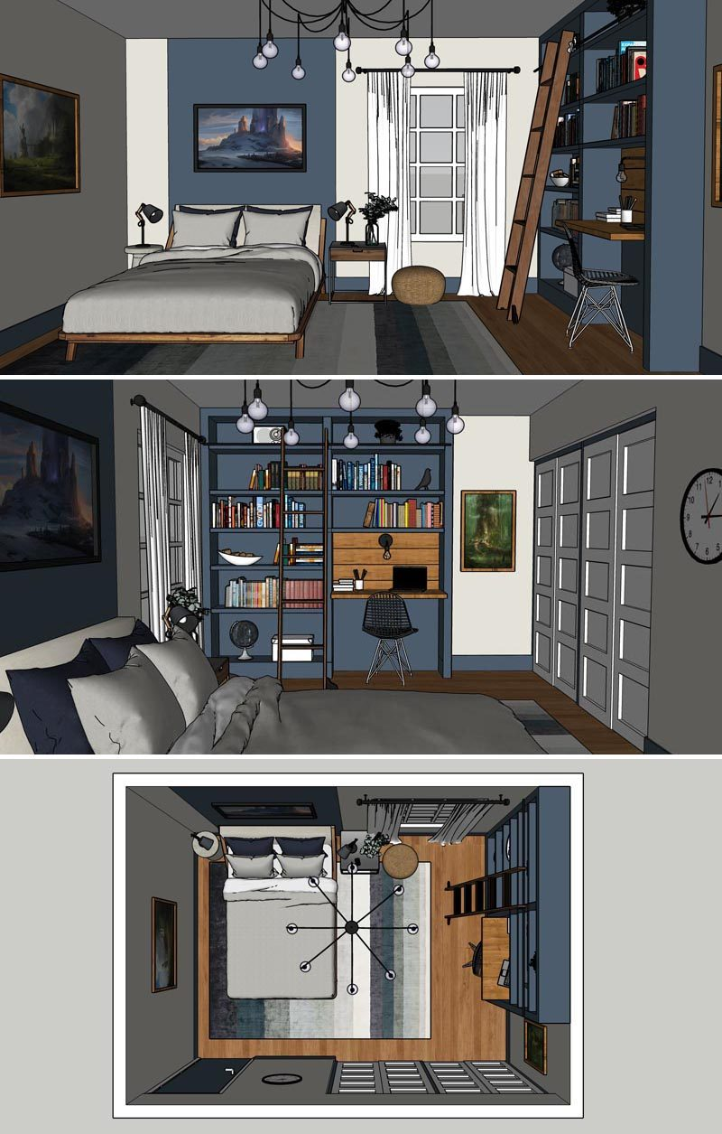 Before & After - Planning - A dark home office has been transformed into a blue and white boy's bedroom with a custom bookshelf and desk. #BedroomRenovation #BedroomMakeover #BoysBedroom #ModernBedroom #BedroomDesign