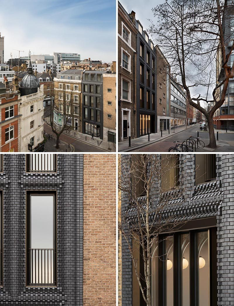 A building in London features a dark interlocking brick facade made from 5,000 blocks. #InterlockingBrick #DarkFacade #BrickFacade #Architecture