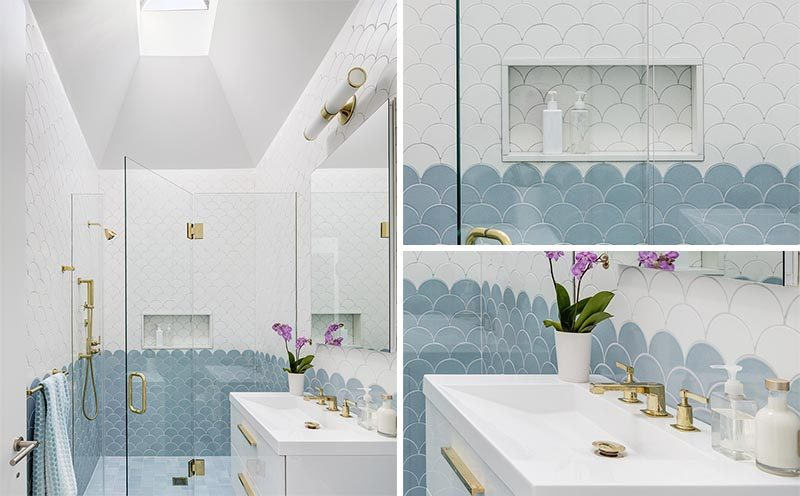 When Barker Associates Architecture Office, also known as BAAO Architects, were designing the renovation of a semi-attached brick townhouse, they included a bright and modern bathroom that combines blue and white tiles with gold accents and a white vanity. #ModernBathroom #BlueAndWhiteBathroom #GoldBathroomAccents