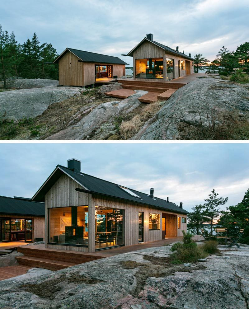 The design of these modern holiday cabins draw inspiration from traditional Finnish archipelago aesthetics, and feature cabled roof, long eaves, extended gutters, and vertical cladding. #HolidayHouse #ModernCabins #Architecture