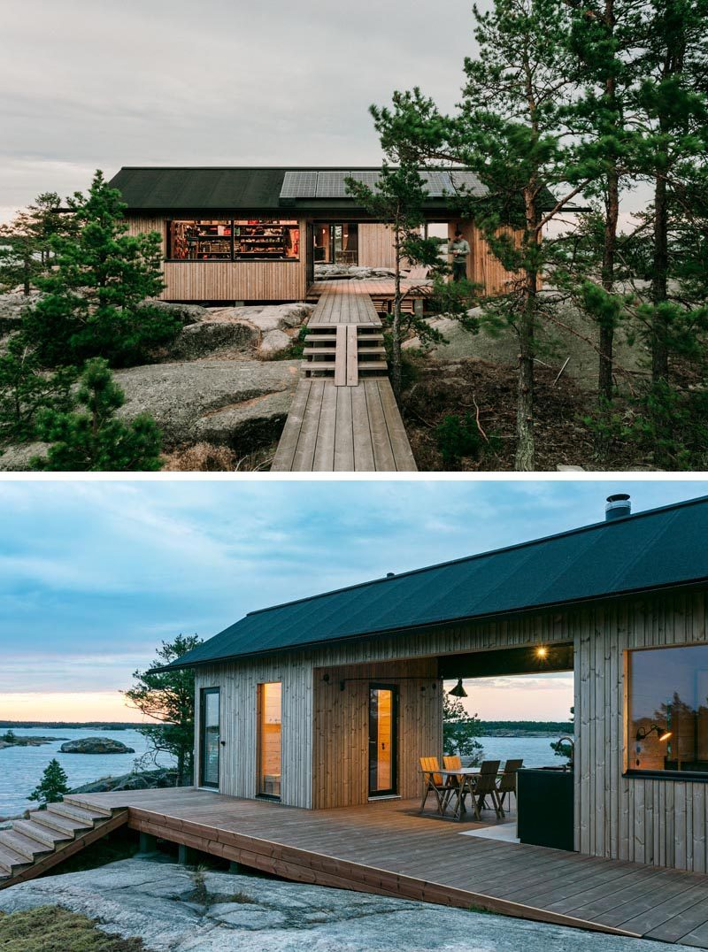 These modern cabins are long and narrow with large windows that take advantage of the views. They also allow various functions, like entertaining at one end, while children sleep in the other. #ModernCabins #HolidayHouse #Architecture