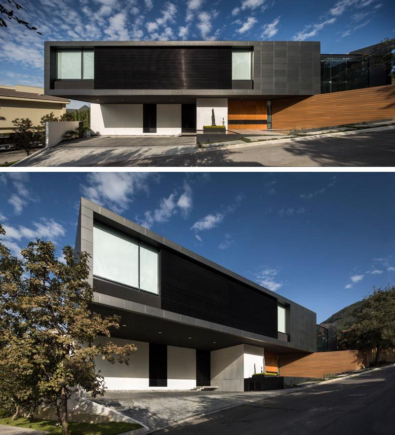 As this modern house is located on an irregular, down-sloped plot, the design of the house reflected this, and was created with three different levels to compensate for the slope. From the street, only the top and middle levels are visible. #ModernHouse #BlackPorcelainFacade #ModernArchitecture #WhiteConcrete