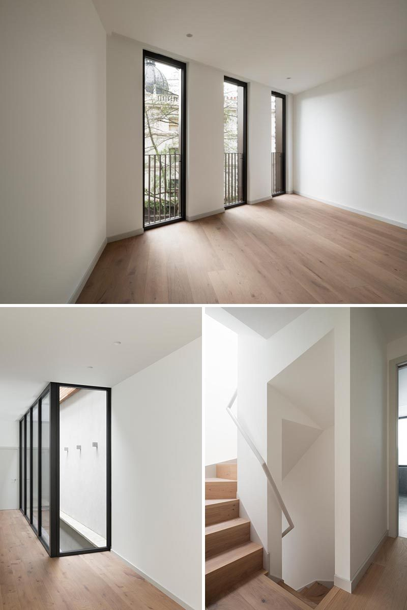 The units within this building have been finished in a simple palette that includes terrazzo bathrooms, natural stone worktops, sprayed-timber kitchens, and oak floors. #OakFloors #BlackWindowFrames