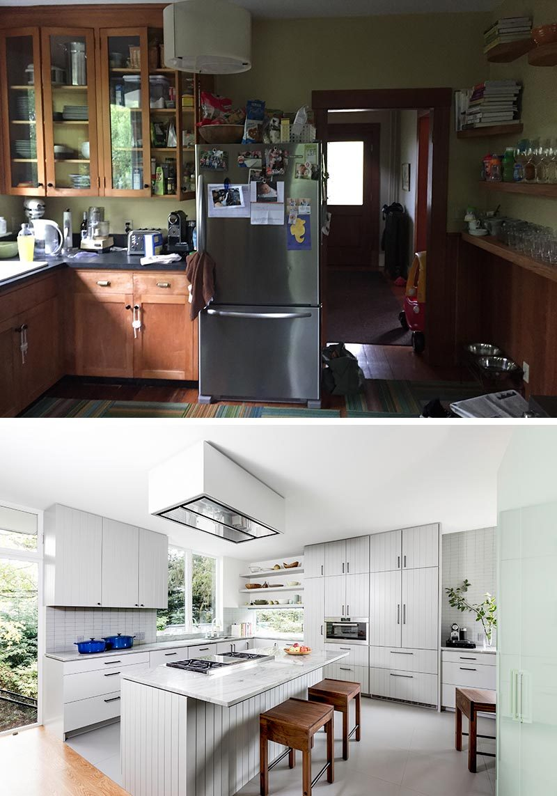 When Best Practice Architecture and Leah Steen Interior Design were tasked with renovating a house in Seattle, Washington, they took what was once a kitchen with dark wood cabinets and transformed it into a bright and larger kitchen with an island. #KitchenRenovation #KitchenRemodel #InteriorDesign #KitchenDesign