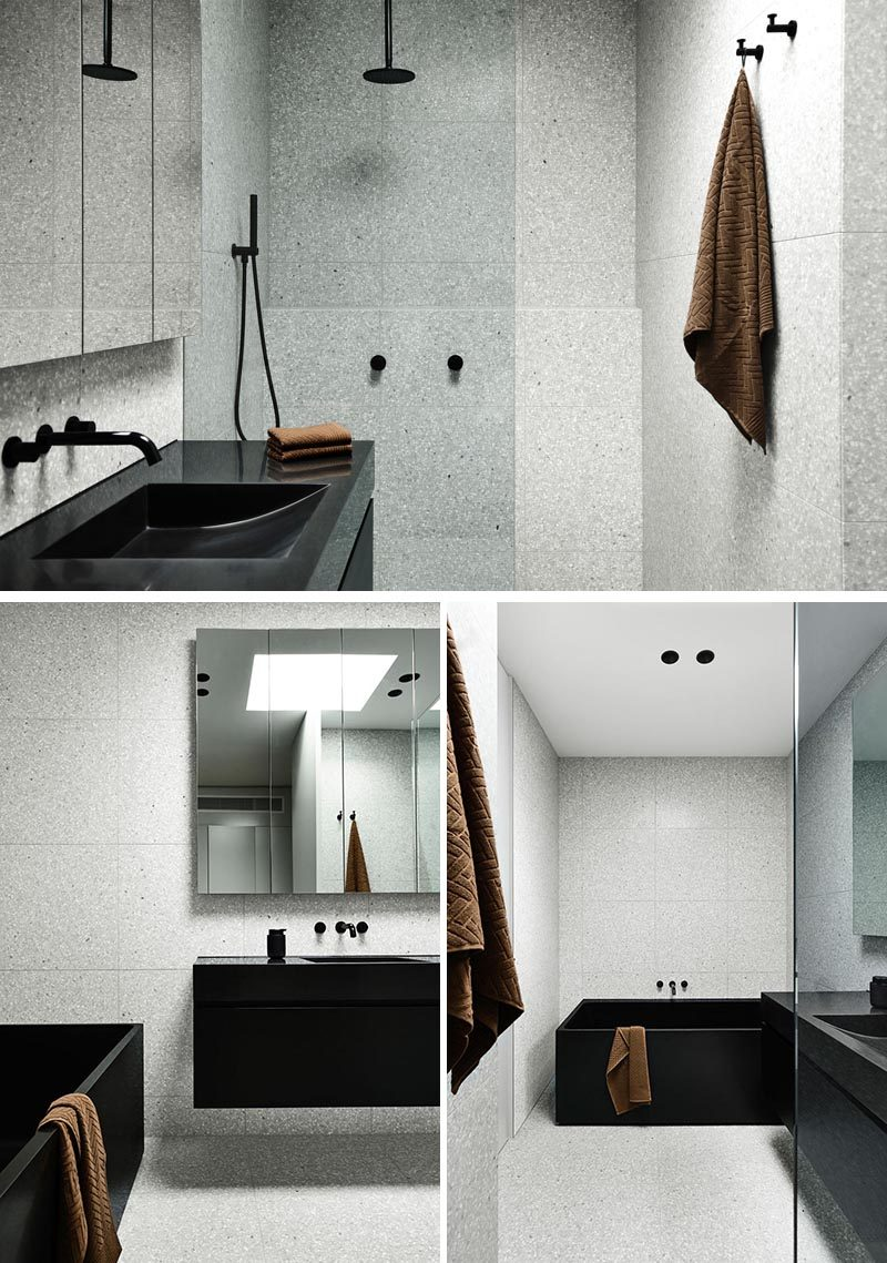 In this modern bathroom, grey terrazzo has been used to create a lighter, brighter space. #GreyBathroom #ModernBathroom #BathroomDesign