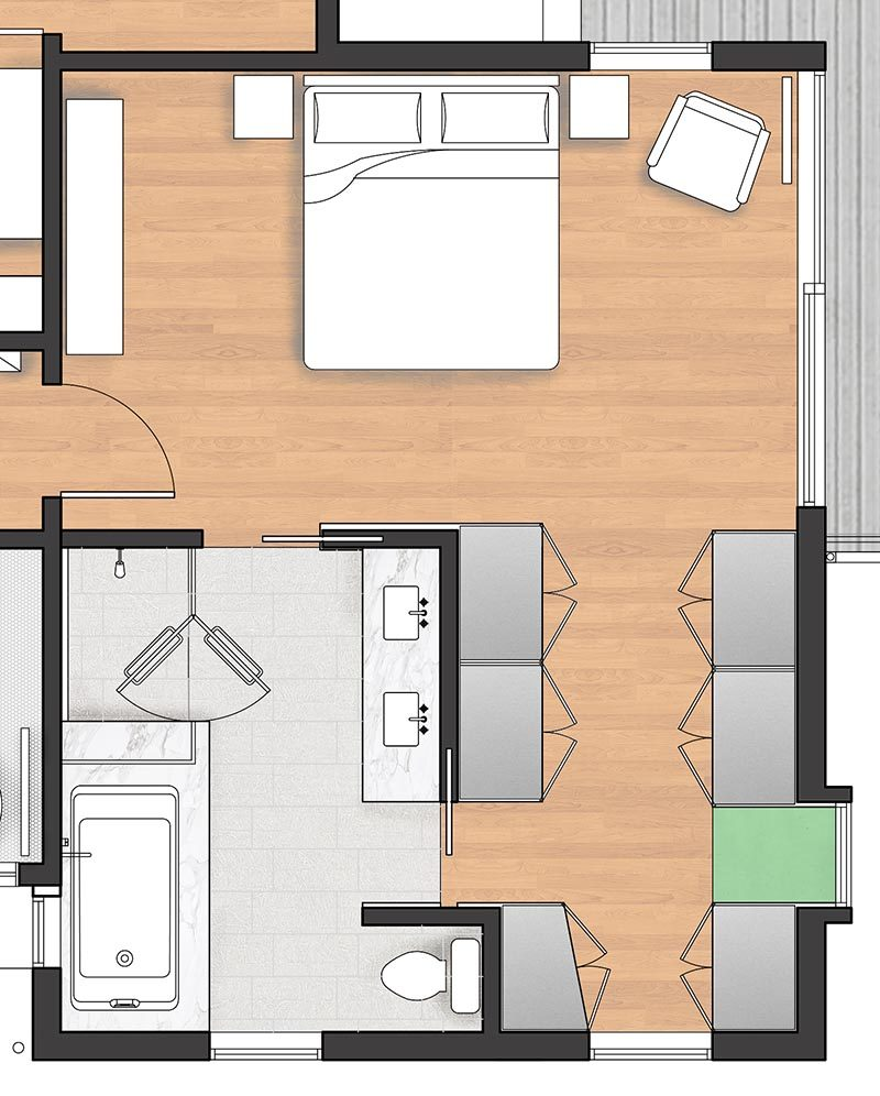 FLOOR PLAN - When Best Practice Architecture was renovating a house in Seattle, Washington, they decided to include a new and modern master suite with a balcony, walk-through closet, and en-suite bathroom. #MasterSuite #MasterBedroom #MasterBathroom #WalkThroughCloset