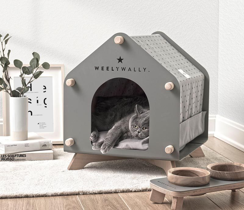 Designer Onurhan Demir of WeelyWally has created a collection of modern pet furniture that can be enjoyed by both cats and dogs. #ModernPetFurniture #ModernCatBed #ModernDogHouse