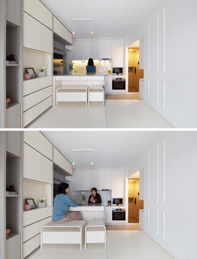 Sim-Plex Design Studio has recently completed the interior of a modern and small apartment in Hong Kong, that measures in at 492 square feet. #SmallApartment #ApartmentDesign