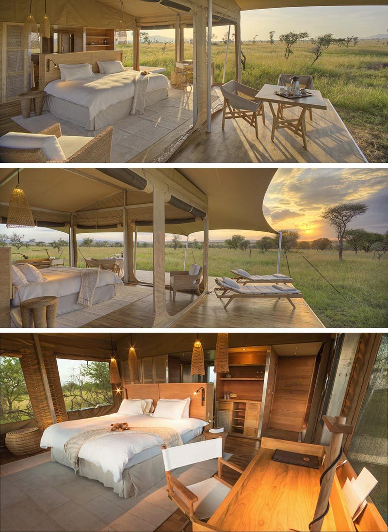 The Roving Bushtop Safari Camp has all the comforts of home and allows guests to have their own private sanctuary that's surrounded by the sweeping plains. #SafariCamp #Serengeti