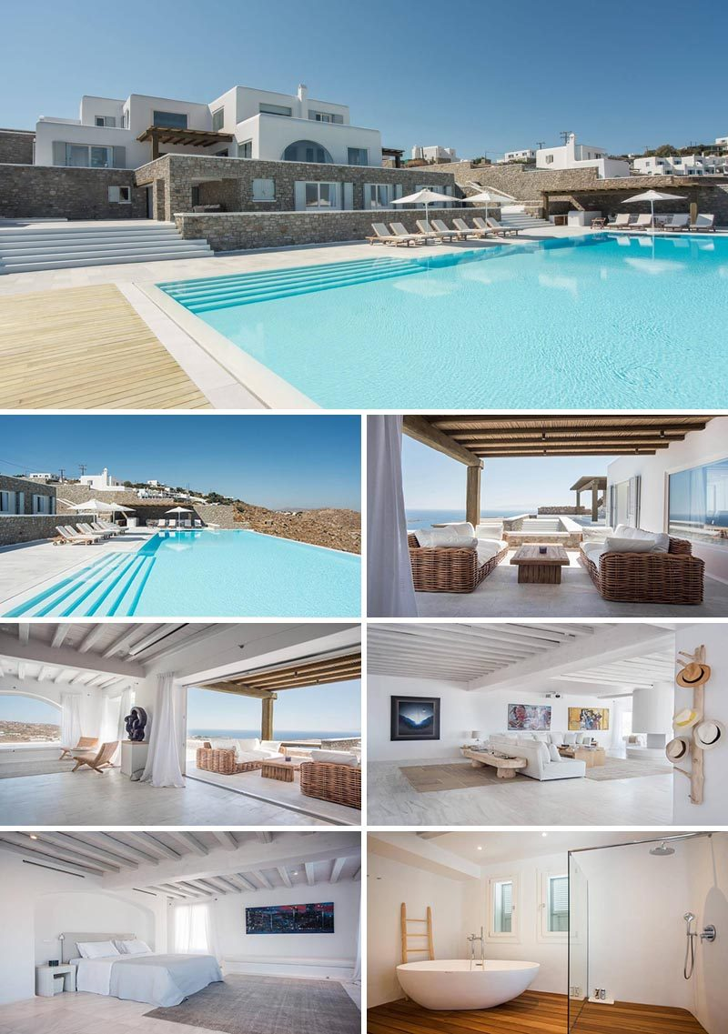 Located in the area of Agios Lazaros, Villa Bellavista is a 10-bedroom Cycladic property that exudes elegance and style with elements from traditional Greek architecture. #Mykonos #VacationIdeas #MykonosVillas