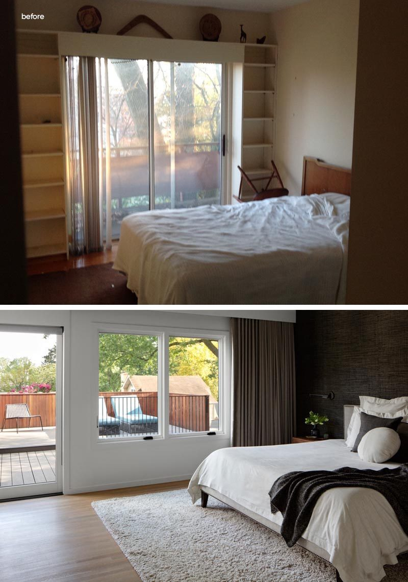 Before and After - This master bedroom originally had shelving that wrapped around the door that led to the balcony at the rear of the house. The new and updated master bedroom has two large windows and a sliding door that opens to the new rooftop patio that overlooks the backyard. #MasterBedroom #BedroomRenovation #BedroomRemodel