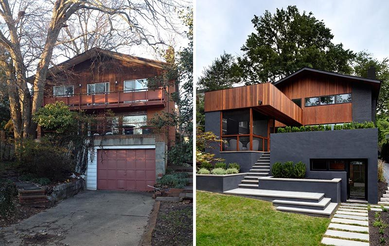 Before And After - From this angle, you can see how much the rear of this home has changed. The garage was transformed into a gym, the top balcony was extended to become a rooftop patio, and modern light colored steps connect the screened patio with the backyard. Built-in planters have been used to soften the black stained exterior. #Architecture #Landscaping #ModernHouse