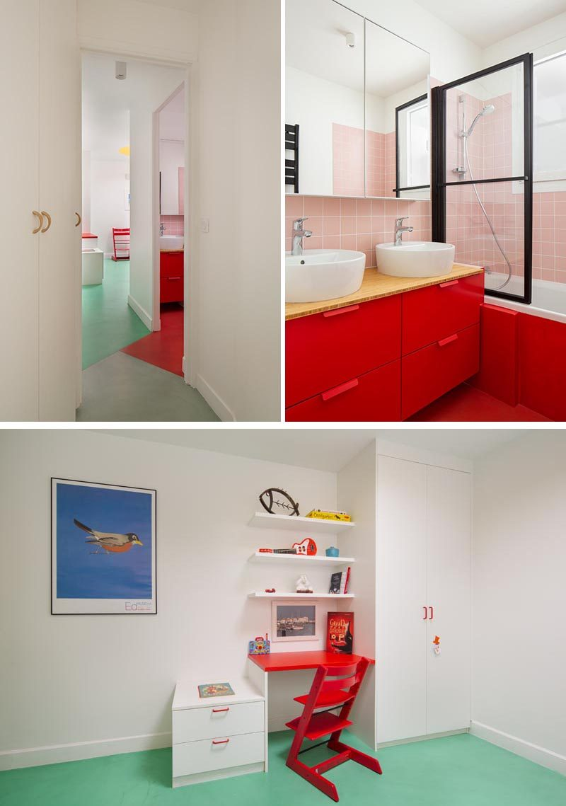 The design of this modern apartment includes a statement red bathroom with soft pink tiles, and a bedroom that has a mint green floor. #RedCabinets #MintGreenFloor #RedBathroom #PinkTiles