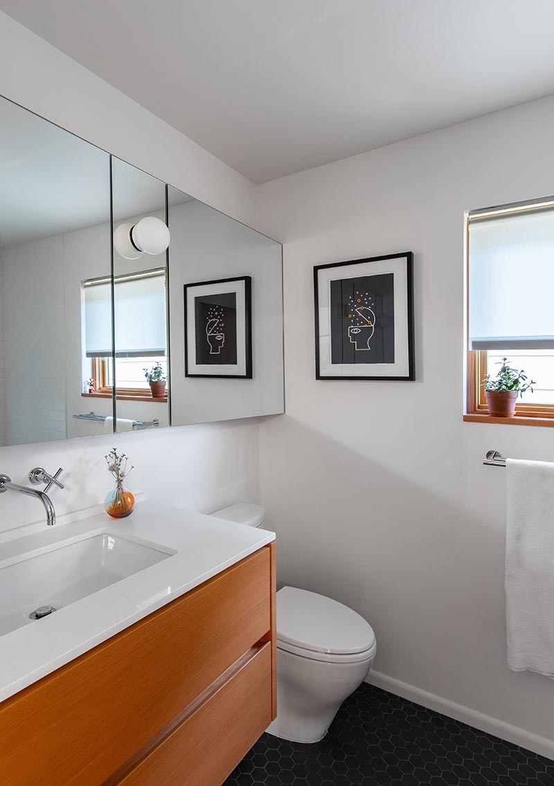 AFTER PIC - As part of a renovation project, Seattle-based SHED Architecture & Design transformed a dated bathroom and brought it up to today's standards. #BathroomRenovation #BathroomRemodel