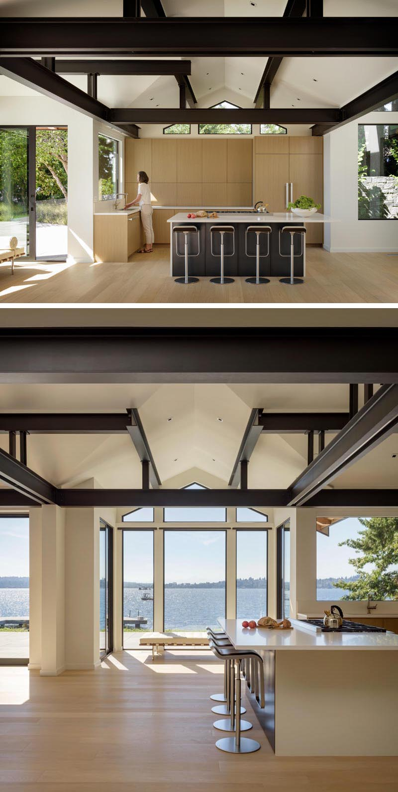 In this modern kitchen, light wood cabinets are complemented by white countertops, while dark cabinets on the kitchen island tie in with the black beams above. #KitchenDesign #LightWoodCabinets #ModernKitchen #Windows