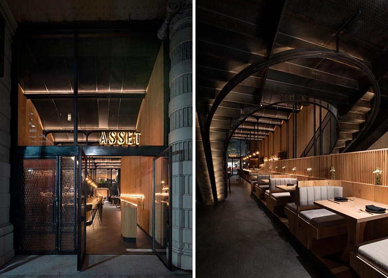Bates Masi + Architects has designed 'Asset', a new restaurant in Manhattan that's located within an old building that had architectural details hidden behind years of renovations. #RestaurantDesign #RestaurantInterior