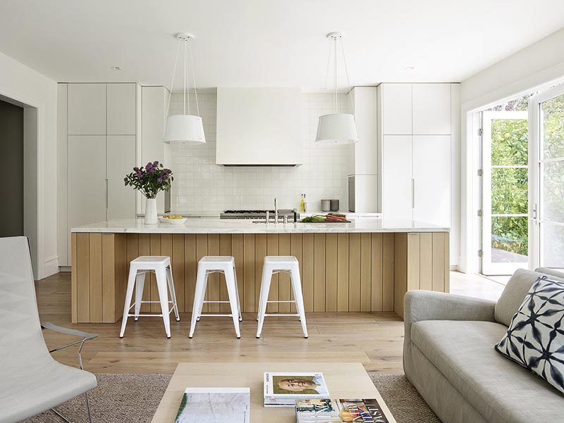 White Kitchen Warms Up With A Wood Island