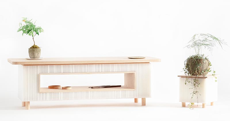 The Fuwafuwa Series Combines Corrugated Plastic And Light Oak For A Unique Look
