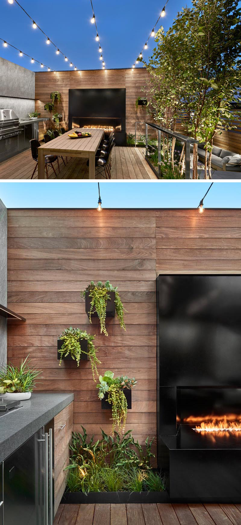 This modern outdoor dining area has a 7-ft linear fireplace with black steel surround, an artful array of cascading planter boxes filled with succulents, and overhead string lights. #OutdoorDining #BlackSteelFireplace #StringLights