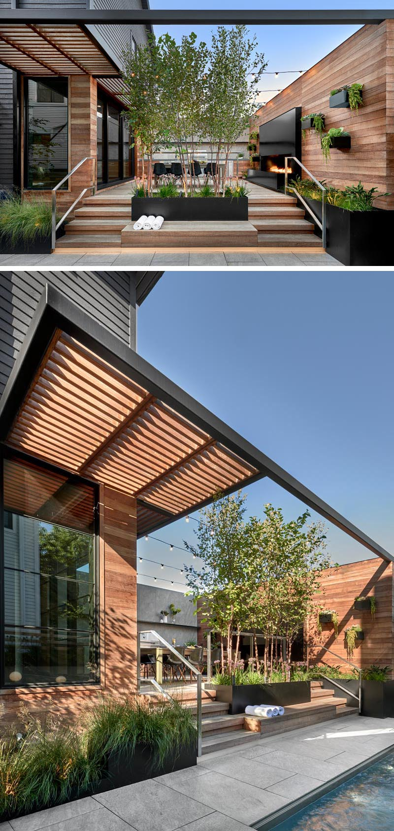 This modern outdoor entertaining space has black steel planters, and louvered sun shades and a pergola that were designed to filter sunlight, add interest, and maintain privacy. Lighting has been integrated under stairs, handrails, and above the outdoor kitchen for safety and aesthetics. #ModernOutdoorSpace #Landscaping #BlackSteelPlanters #OutdoorStairs #Pergola #Sunshade