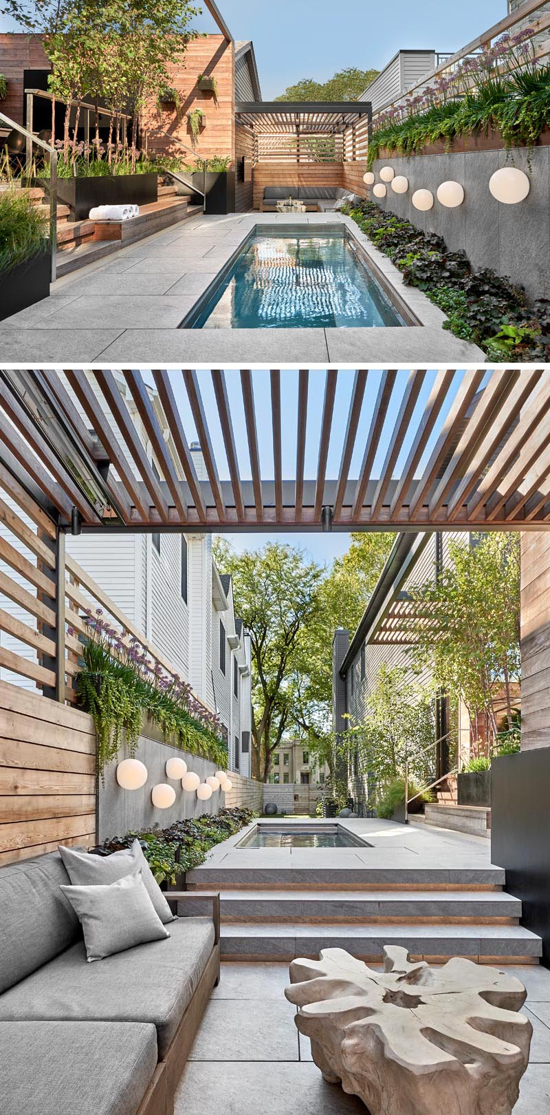 This modern outdoor space has a custom Diamond Spa and a lounge area. The spa measures in at 5' wide by 14' long by 4' deep, is heated year-round, and has an automatic cover to protect it when it's not being used. #OutdoorEntertaining #OutdoorSpa #Landscaping #OutdoorLounge