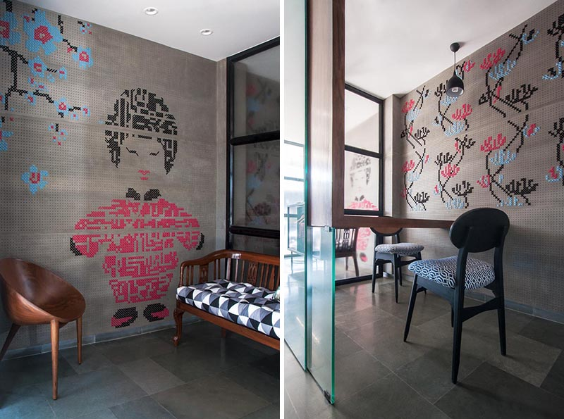 When bespoke studio MuseLAB was tasked with designing an interior for a boutique in busy Bhendi Bazaar, they decided to add colorful embroidered walls. #CrossStich #WallArt #EmbroideredArt #EmbroideredWall #CrossStitchWall