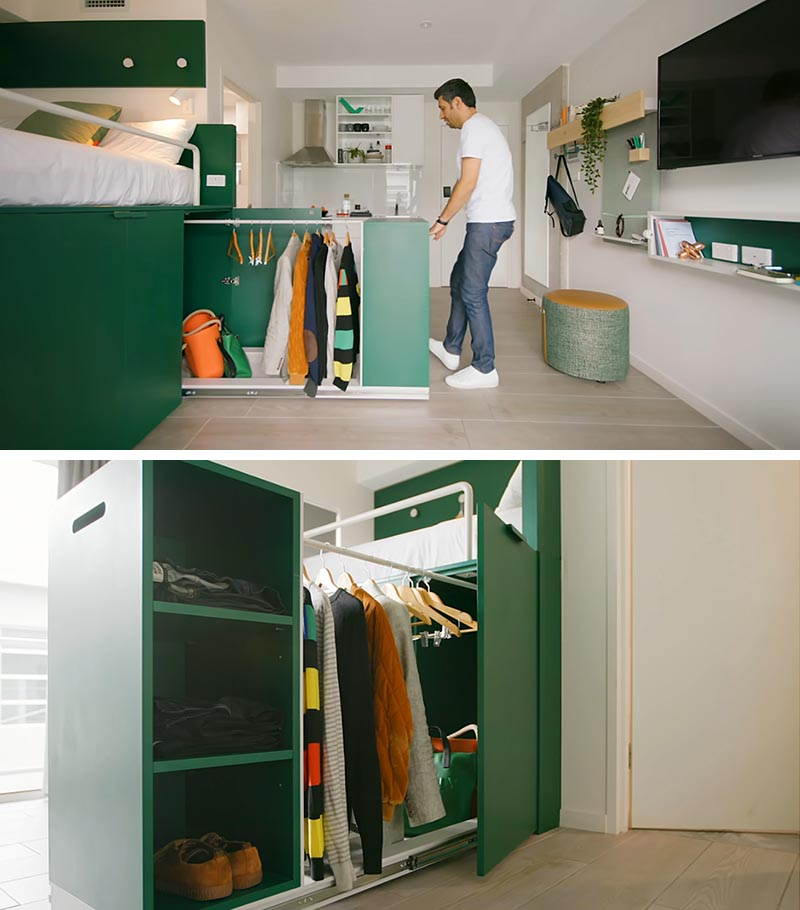 This modern platform bed has a pull-out wardrobe with open shelving, a rod for hanging clothes, and a base platform for storing items like shoes and bags. #PullOutWardrobe #PullOutCloset #UnderBedStorage #PlatformBed #SmallApartment