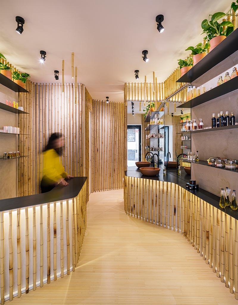 Nuilea Madrid Day Spa Retail by Zooco Estudio #Bamboo #RetailDesign #SpaDesign