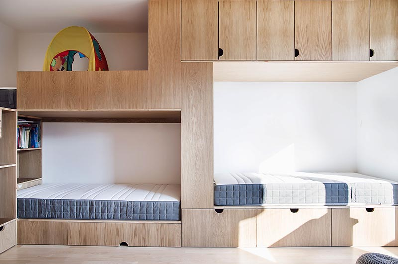 This Children?s Bedroom Has A Bunk Bed Built For Three