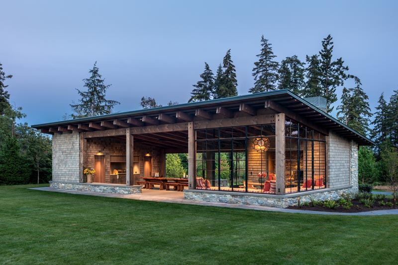 This modern Pacific Northwest inspired garden pavilion features local materials.