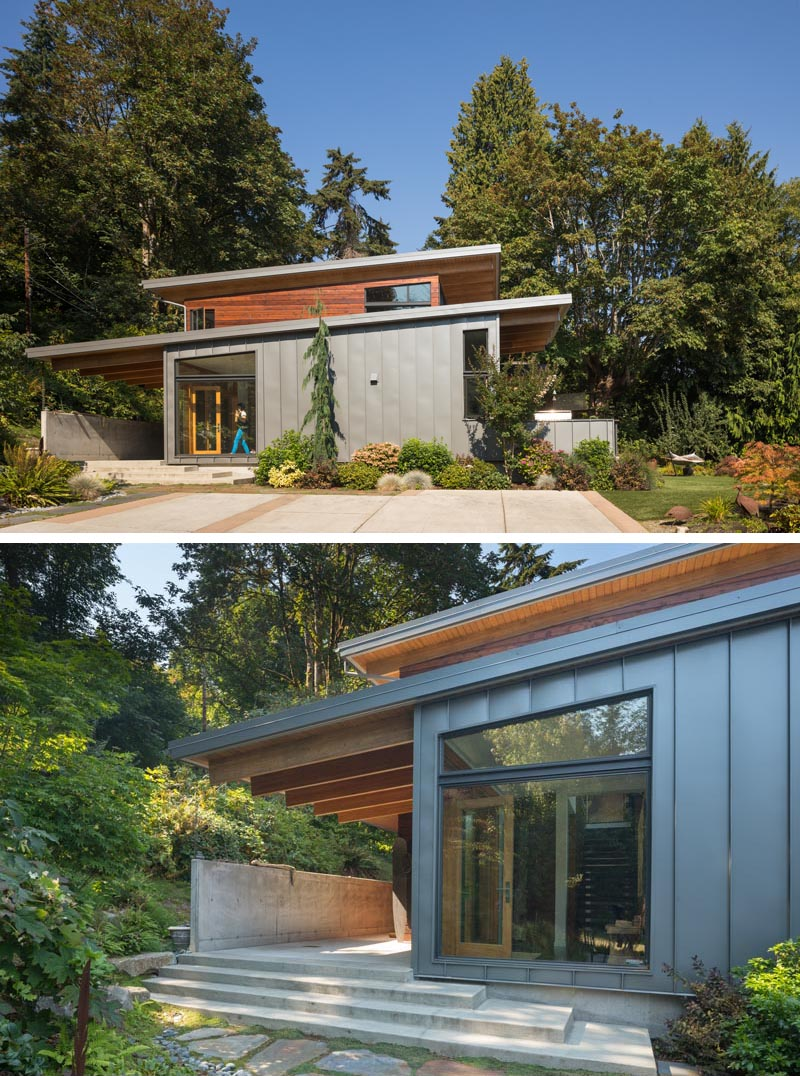Coates Design has recently completed a Pacific Northwest-style house on Bainbridge Island, Washington, that features a palette of stone, concrete, wood, and metal. #ModernArchitecture #HouseDesign